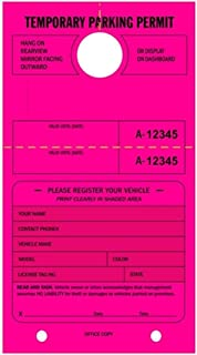 TEMPORARY PARKING PERMIT - Mirror Hang Tags numbered and with Tear-off Stub. Fluorescent Pink, 50/Pack