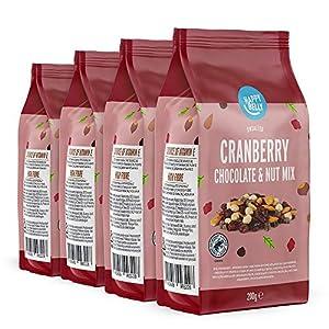 Marca Amazon - Happy Belly - Mezcla de arándano rojo, chocolate y frutos secos, 4x200g