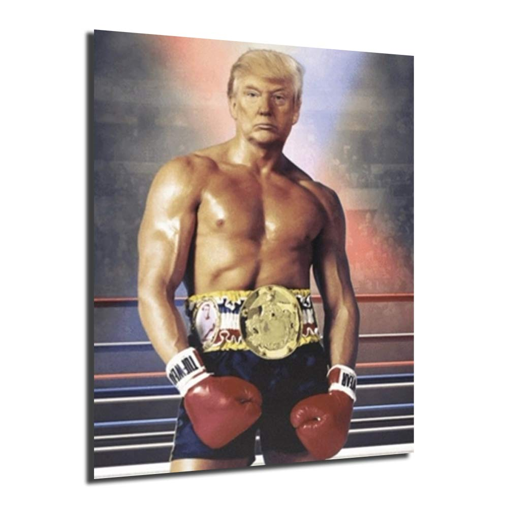 Donald Trump Rocky Boxing Paintings On Canvas Poster Modern Art Decorative Wall Pictures Home Decoration (Framed,8x10inch)
