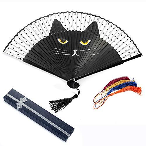 Abanico de mano para mujer, estable y de alta calidad, abanico plegable con caja de regalo para gatos, compartimentos de tela vintage, para la pared, bambú, para el verano, fiestas