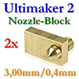 2x Ultimaker 2latón bloque con boquilla 0,4mm para 3,00mm