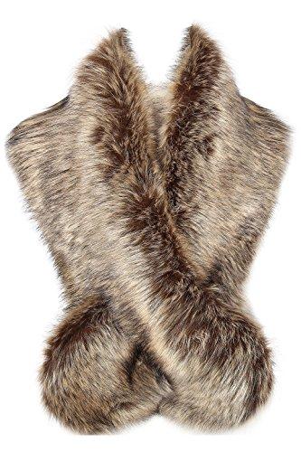 ArtiDeco Damen Kunst Pelz Schal Flauschig Faux Pelz Umschlagtuch Kragen für Wintermantel 1920er Jahre Flapper Accessoires Outfit Warm Zubehör 120 cm lang (Waschbär)