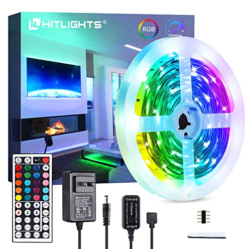 HitLights LED Strip Lights, 16.4ft 5050 RGB LED Tape Lights, Color Changing LED Strips with Remote and Power Supply. 150LED, 12V DC Power for Home Kitchen Under Cabinet Bed Decorations HitLights