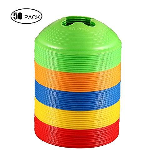 KEVENZ 50 Stück Platz Marker Kegel Scheiben Soccer Fußball Rugby Fitness Training Sport Untertasse Rot (Rot, Gelb, Höhe: 6 cm, Durchmesser: 20 cm, Dicke: 0.2 cm)