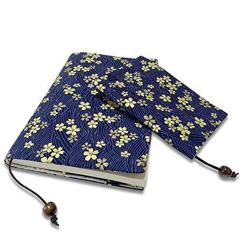 ブックカバーA5、A6サイズ ハンドメイドの布手芸ブックカバー内側カードケース付き、サイズ調節可能 紺、赤 桜の柄 (紺, A5)