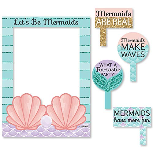 Big Dot of Happiness Let's Be Mermaids - Birthday Party or Baby Shower Selfie Photo Booth Picture Frame & Props - Printed on Sturdy Material