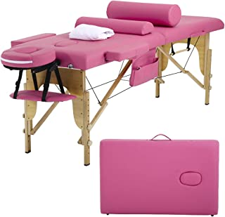Massage Table Massage Bed Spa Bed Height Adjustable Portable 2 Folding 73 Inches Massage Salon Table W/Sheet Cradle Bolster Hanger Facial Salon Tattoo Bed