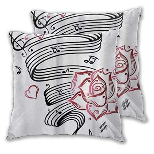 CONICIXI Tattoo Bleistiftzeichnung Romantische Sanduhr Symbol der ewigen Liebe mit Rosen Musik Mikrofaser Kissenbezug, 3D-Muster Mehrfarbig optional, Zwei Packungen, ohne Kissen