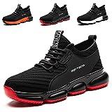 YISIQ Zapatos de Seguridad para Hombre Mujer Transpirable Ligeras con Puntera de Acero Trabajo Calzado de Zapatos de Industrial y Deportiva Unisex, 07 Negro, 42 EU