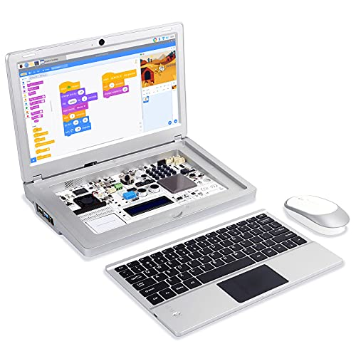 ELECROW Raspberry Pi Kit, CrowPi2 Programming Kit Laptop, Electronic Learning Kit for Raspberry Pi 4, Starter Kit with Sensors for Kids Adult - Basic Kit, RPI Not Included