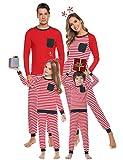 Aibrou Conjunto de Pijamas Navidad de Familia,Camiseta de Manga Larga + Pantalones Largos,algodón Rayas Suave Ropa Conjunto Familia a Dormir,Pijama Parejas