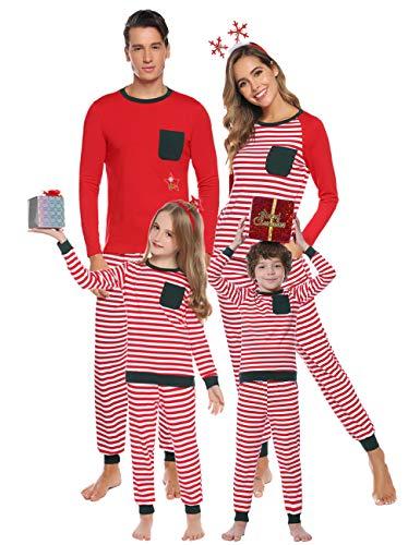 Aibrou Weihnachten Familie Schlafanzug Outfit Nachtwäsche Herren Damen Kiner Lang Pyjamas Set