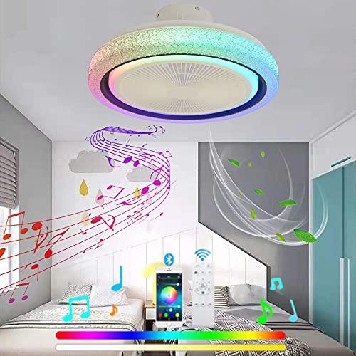 VOMI Silencioso Ventilador de Techo con Luz Infantil Regulable Mando a Distancia Velocidad Regulable Ventilador de Techo RGB Cambios de Color Candelabro Bluetooth Altavoz para Dormitorio Salón
