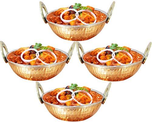 Satz von 4, der Kupfer Utensilien Indien karahi Abendessen Gemüse Schüssel mit Griff für indische Lebensmittel, Durchmesser 15 cm