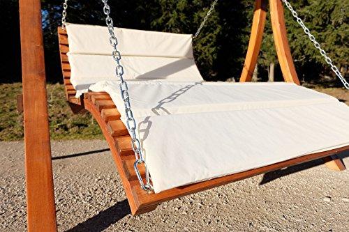 ASS Design Hollywoodliege Hollywoodschaukel Aruba-OD aus Holz Lärche ohne Dach von Farbe:Cremeweiss - 5