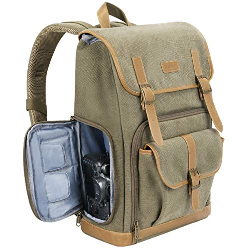 """Endurax Canvas Camera Backpack for DSLR Photography Backpack with Quick Access Dual Compartments Fit SLR Cameras 3-5 Lenses and 14"""" Laptop Green"""