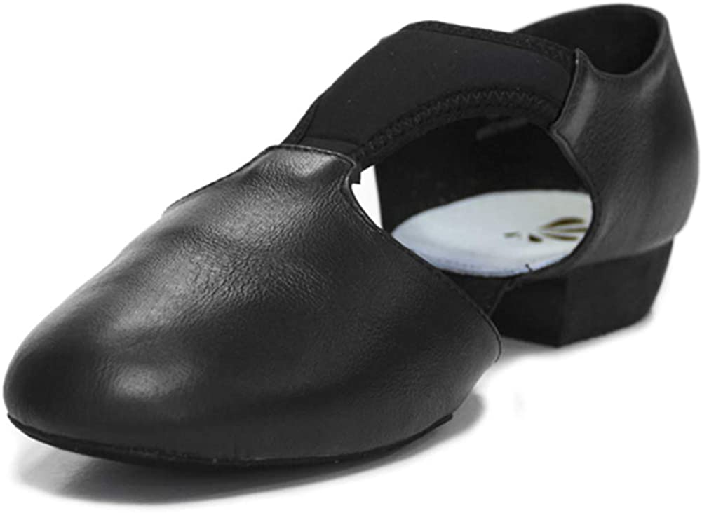 DANCEYOU Dance Teaching Sandal Jazz Dance Shoes Grecian Split Sole Leather T-Strap Upper Contemporary Shoes