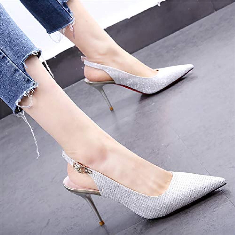 HOESCZS Hochzeit Schuhe 19 Frühling und Sommer Neue Spitze Pailletten Strass Stiletto Heels nach dem Wort Schnalle einzelne Schuhe