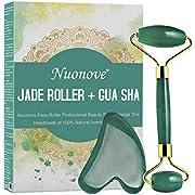 Jade Roller, Gua Sha Schaber, Gesichtsroller, Gesichtmassagegerät, Jade Roller und Gua Sha Set, Natürliche Verjüngung Stein für Anti-Aging Gesicht & Nacken knitterfrei