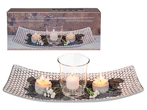 mucHome Dekoschale mit Windlicht und Kerzen ca. 38 x 16 cm Dekoration Geschenkset im Geschenkkarton Dekotablett Dekor