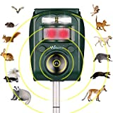 Wikomo Ultrasonic Pest Repeller,Solar Powered Waterproof Outdoor Animal Repeller with Ultrasonic sound,Motion Sensor