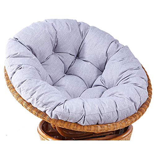 XBSLJ Cotton Overstuffed Papasan Chair Cushion with Ties,Solid Color Round Thick Swing Hanging Basket Seat Cushion for Indoor Outdoor Garden Patio Yard Gray 100cm(39.4') Mat only