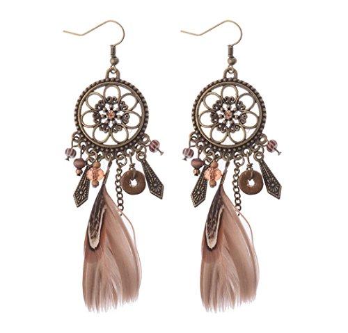 Jovono Feder-Ohrringe, Traumfänger-Ohrringe für Frauen und Mädchen