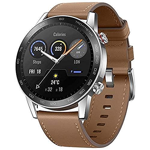 "Oferta de HONOR Magic Watch 2, Pantalla 1.39 ""AMOLED, Kirin A1, GPS GLONASS, 6 sensores, IP68, batería 455 mAh, 46 mm, Marrón"