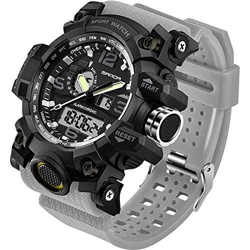 Relógio masculino para esportes ao ar livre à prova d'água, multifuncional, visor duplo, cronômetro, militar, relógio de pulso tático, Cinza