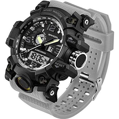 Mens Military Watch Dual Display Waterproof Sport Digital Big Wrist Watch Outdoor Army Wristwatch