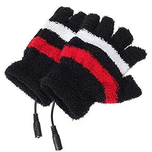 Yyuezhi USB-verwarmde vingerloze handschoenen, USB-verwarming, met zwarte strepen