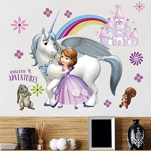 Dulce Princesa Sofía pegatina de decoración de pared para habitación de niños dormitorio de niñas vinilo bonito calcomanías de decoración del hogar cartel de dibujos animados extraíble