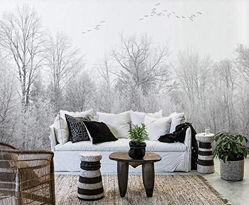 Papel Pintado 3D Bosque De Invierno Blanco Y Negro Minimalista Fotomurales Pared Dormitorio Papel Pintado Fotográfico Mural