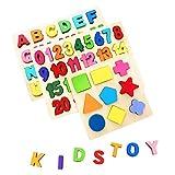 AiTuiTui Bloques de Letras de Madera ABC Abecedario Tablero del Alfabeto Niños Niños Preescolar Apre...
