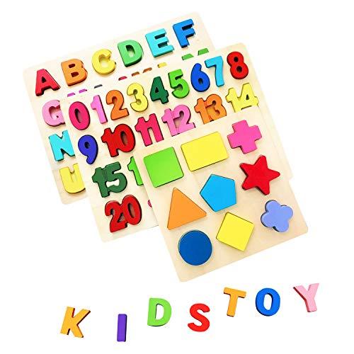 AiTuiTui Bloques de Letras de Madera ABC Abecedario Tablero del Alfabeto Niños Niños Preescolar Aprendizaje Temprano Juguetes Educativos