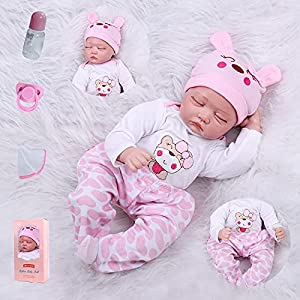 Size: about 22 inches (55cm); Weight: about 3.3LB(1.5kg).The doll is handmade, there will be some size error and weight.The baby can adapt to newborn-sized baby clothes ● Package that includes: Reborn baby doll girl + Beautiful Baby Clothes + Lovely ...