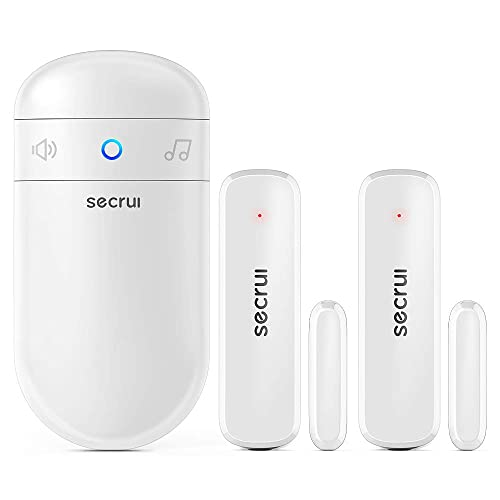 Door Chime with 2 Sensors, 500ft Operating Range 52 Chime Adjustable Volume with Mute Mode LED Indicators 1 Plug-in Receiver 2 Magnetic Door Alarm Sensor for Home Security & Office