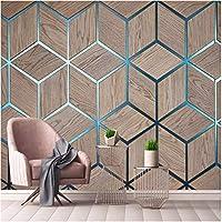 Iusasdz 写真の壁紙モダンな幾何学的な木目線壁画リビングルームテレビソファ背景壁の装飾3D壁紙-400X280Cm
