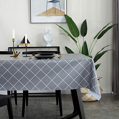 Kuingbhn Rectangular Mantel de Lavable Estilo Moderno Resistente a Rayones y Resistente Al Desgaste Tamaño Seleccionable de Cocina Salón Gris 140×220cm
