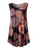 LARACE Plus Size Sleeveless Tank Boho Tops for Women Floral Blouse Swing Tunic for Leggings Summer Clothes Bohemian Shirts(2X, A-Black19)