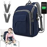 HELEVIA - Bolso cambiador multifuncional impermeable para pañales con puerto USB cambiador, práctica bolsa de pañales para bebé azul azul