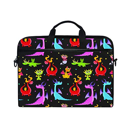 Ahomy 38,1-15,4 Zoll Laptop-Tasche, lustige Cartoon-Drache Canvas Stoff Laptop Tasche Bussiness Handtasche mit Schultergurt für Damen und Herren