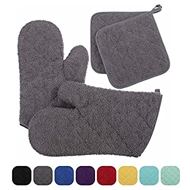 VEEYOO Cotton Oven Mitts Pot Holder Set Quilted Trivet Mats Kitchen Heat Resistant for Cooking Baking, Set of 4, Gray