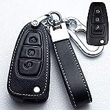 Autoschlüssel-Hülle aus Leder mit 3 Tasten für Ford Ranger C-Max S-Max Focus Galaxy Mondeo Transit Tourneo Schwarz