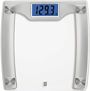 Weight Watchers Digital Glass Scale, 400 Pounds/182 Kilograms Capacity, High Contrast, Tempered Safety Glass, Silver and S...