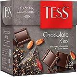 Black tea TESS chocolate kiss Beverages Grocery Gourmet Food [20 pyramids of tea bags]