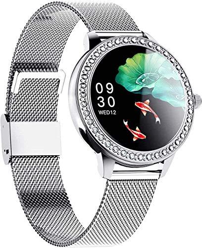 Reloj inteligente con monitor de ritmo cardíaco para mujer, impermeable, IP68, monitor de actividad, podómetro, monitor de sueño, cronómetro, contador de calorías, pantalla táctil 1.09, color plateado