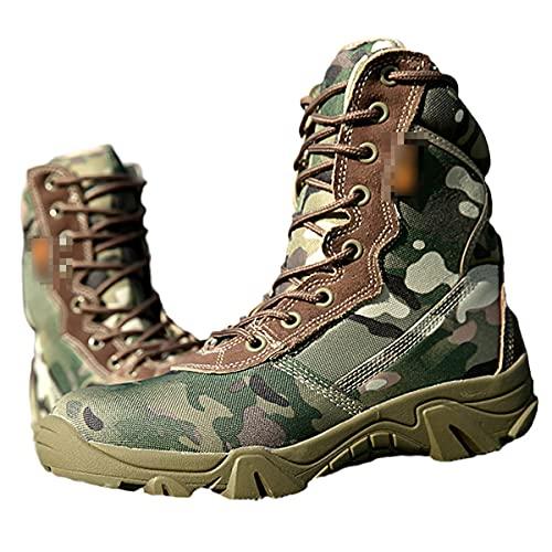 Botas tácticas militares de otoño de los hombres de alta parte superior de la lona de la cremallera con cordones de combate botas militares y tobillo desierto zapatos, CP, 42 EU