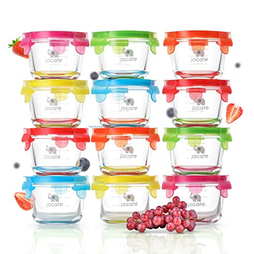Jocate Borosilicate Glass Baby Food Storage Containers   12 Set   Leakproof Glass Baby Food Jars with Lids   4oz Baby Food Containers   Freezer, Dishwasher, Oven & Microwave Safe   Infants and Babies
