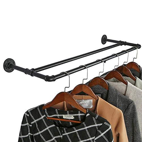 OROPY Industrieel Pijp Dubbel Kledingrek, 90cm Zwart Metalen Wandrek voor Hangende Kleding (H-vormig)